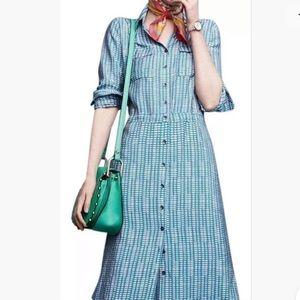 Anthropologie Maeve Long Shirt Dress Blue 2